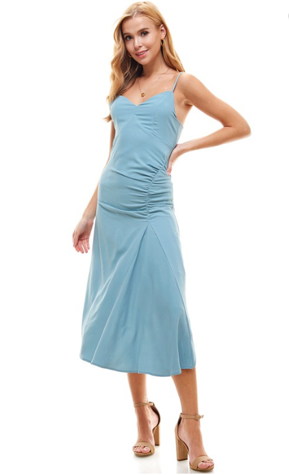 Traveller V-Neck Dress in Blue
