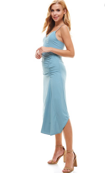 Slip Dress with Side Ruched Detail