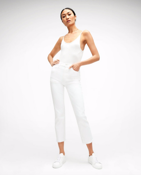 High Waist Cropped Straight in White