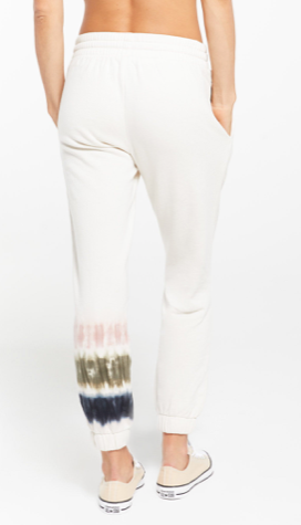 Selene Stripe Tie Dye Jogger in Bone