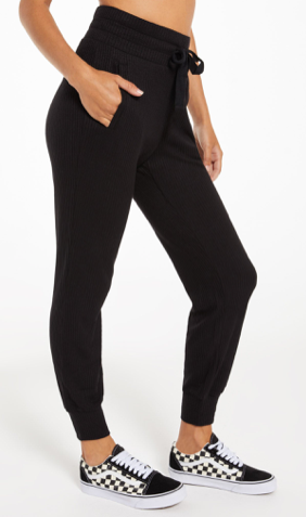 Lyric Rib Jogger In Black