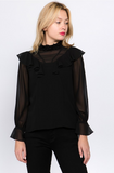 Ruffle High Neck Long Sleeve Blouse