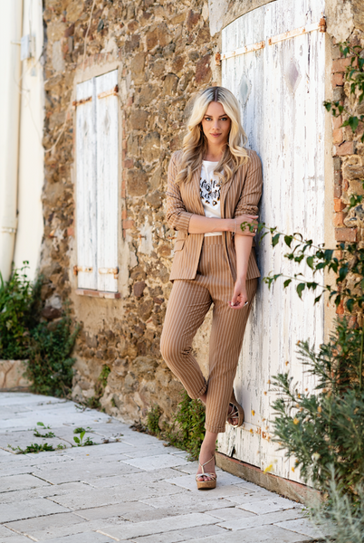 Striped Trousers in Tan