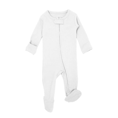 Organic Reverse Zipper Footie in White
