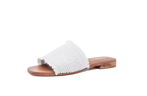 Crete Frayed Sandal in White