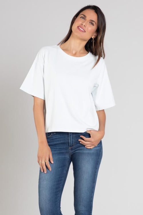 1/2 Sleeve Oversized Boxy Tee in Blue Calcite