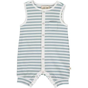 Pablo Ribbed Playsuit In Grey/White Stripe