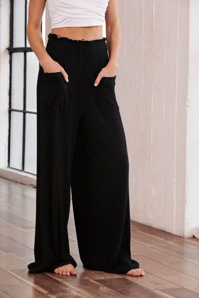 Blissed Out Wide Leg Pant In Black
