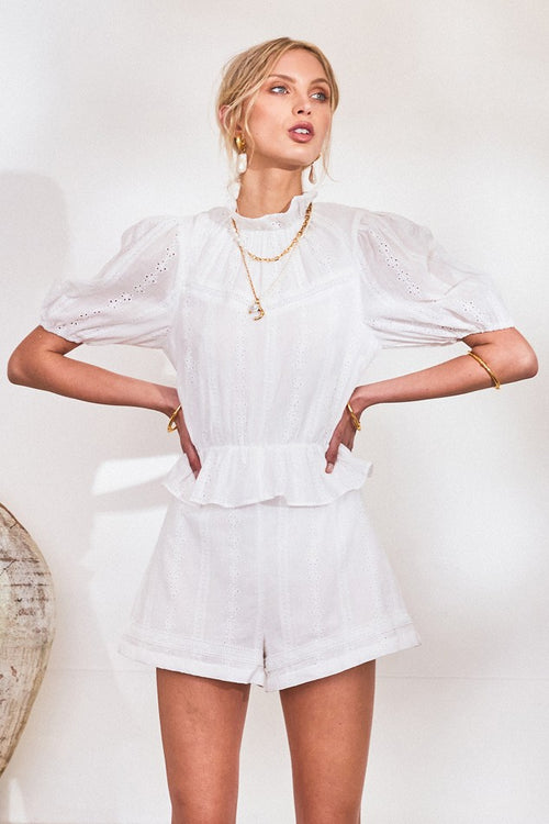 Laine Lace Playsuit in White