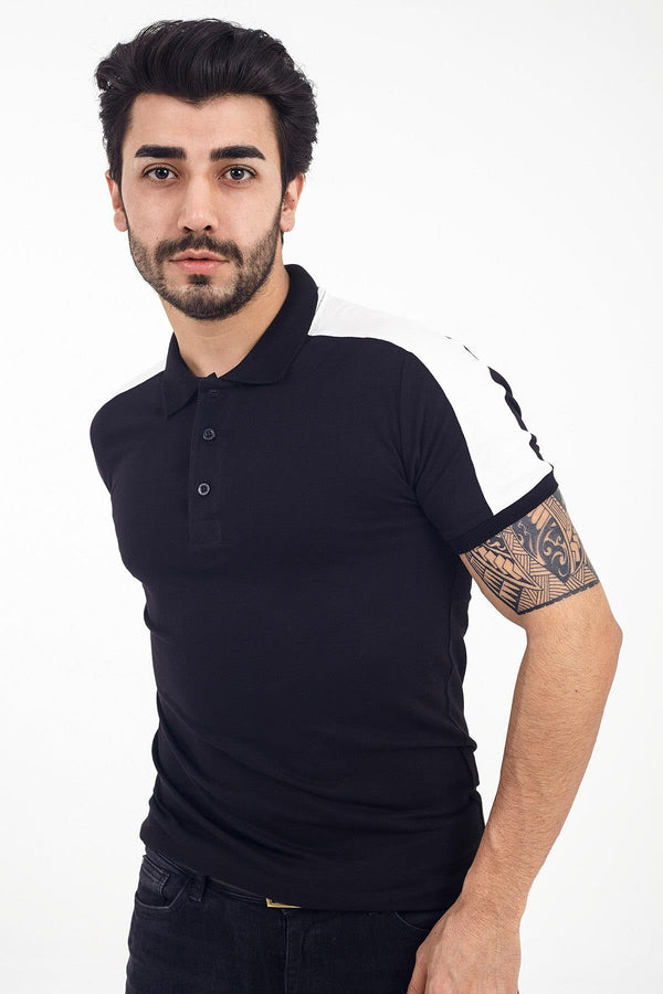 Crash 2002 Slim Fit Omuz Şeritli Polo Yaka Tshirt