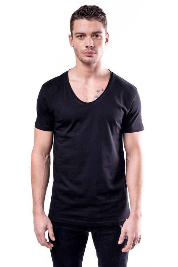 Oksit Machinist Slim Fit Acik Yaka Erkek Basic Tshirt