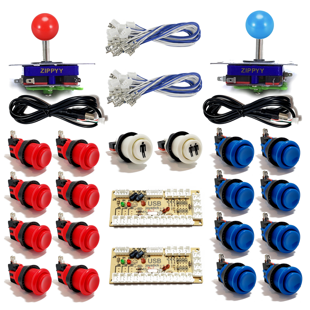 2 Player Happ Buttons & Joystick Kit with USB Encoder - Red & Blue