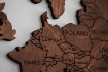 Part of a wooden map with European countries