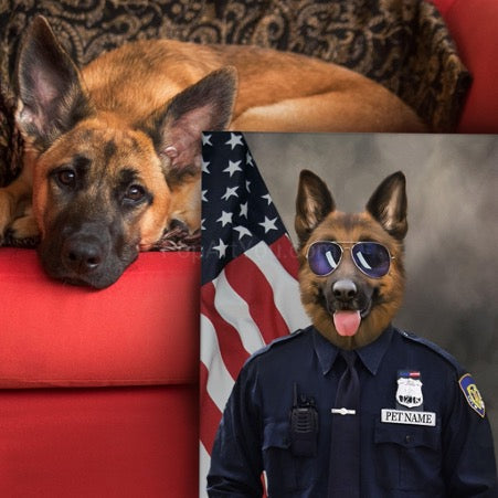 Shepherd dog lies on a red sofa, next to the sofa there is a portrait of a shepherd dog dressed as a policeman