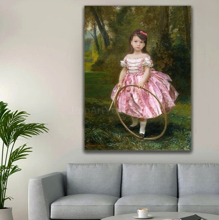 Portrait of a girl in a lush pink dress with a hoop in her hands hangs on the wall above the gray sofa