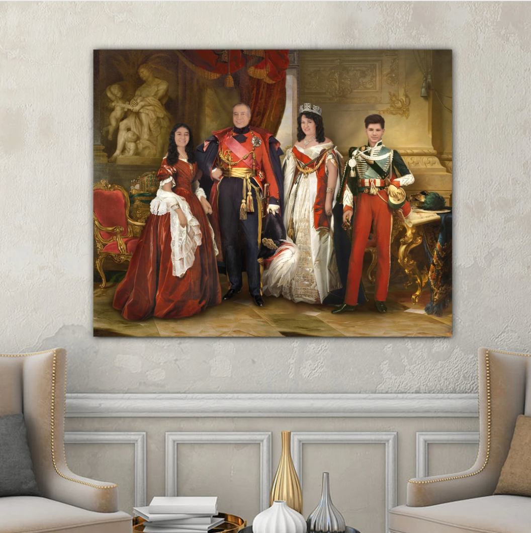 Portrait of a family of four members in royal attires hangs on a white wall