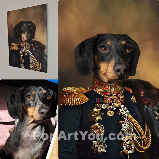 The Dachshunds and his portrait depicting him as a general