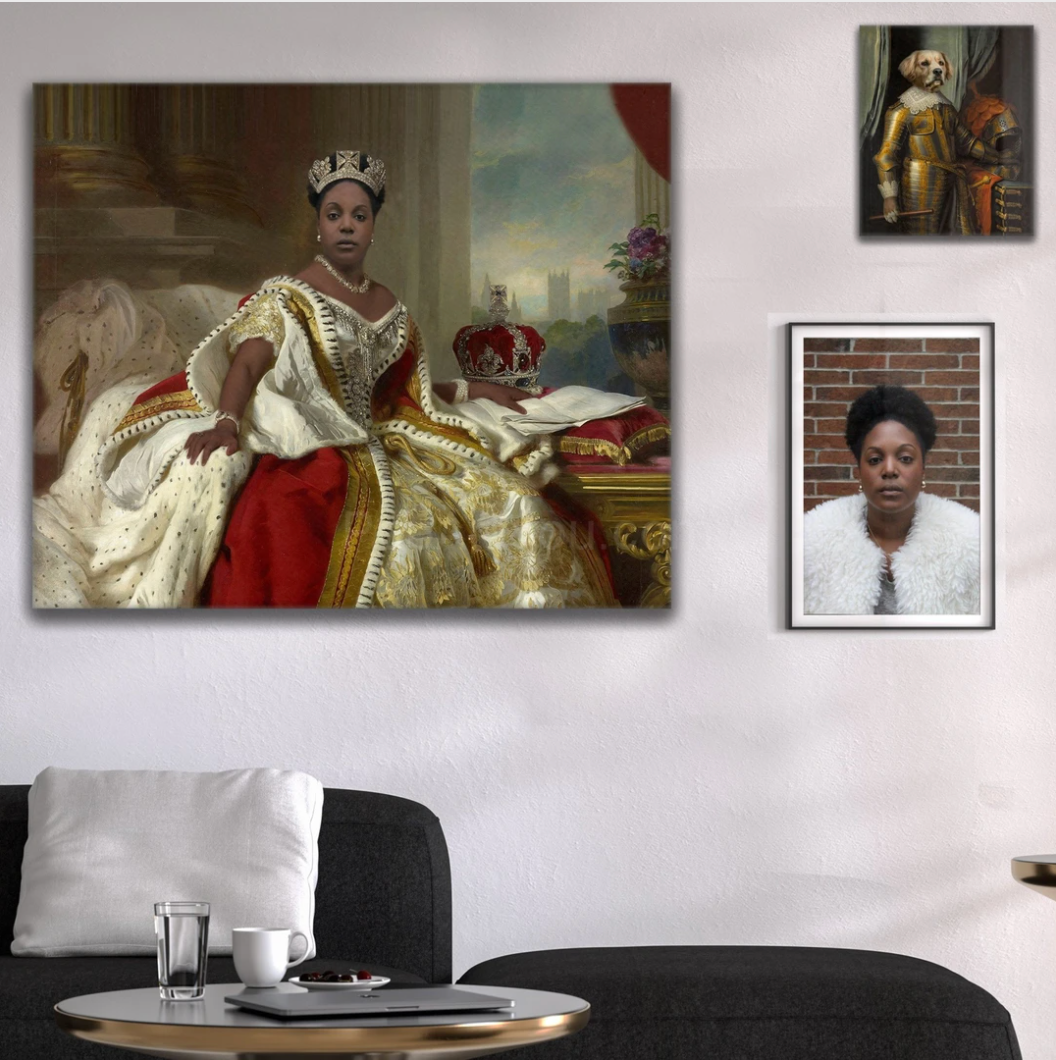 Portrait of a woman in a royal dress hangs on a white wall over a gray sofa