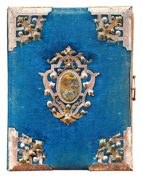 Blue book with gold border