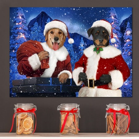 Portrait of two dogs in Santa Claus costumes hanging on the wall above glass jars with red bows