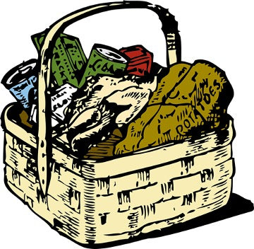 Picture of picnic basket with different products inside