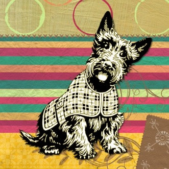 Print of a miniature schnauzer on a background of multi-colored stripes