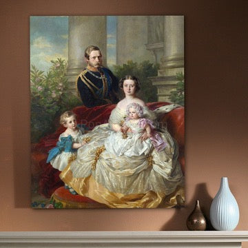 A portrait of a woman, a man and two children in royal costumes hangs on a brown wall next to two vases