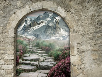 There is a niche in the wall in the form of an arch,  and there is a painting depicting a road to the mountains in a niche