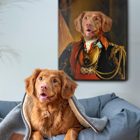 A portrait of a dog in royal clothes hangs on the wall, and the dog sits on the bed next to the portrait