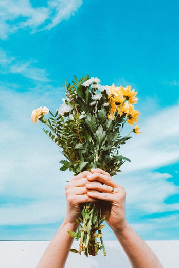 Hands hold a bouquet of flowers against the sky