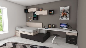Light room with bed and work desk, gray wall with shelves and a picture of a horse