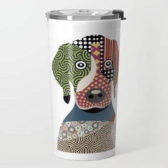 White thermocup with dog print