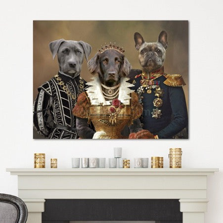 Portrait of three dogs in historical costumes hanging on a white wall above the fireplace