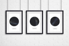 Three paintings with Night Sky Prints hang on a white wall