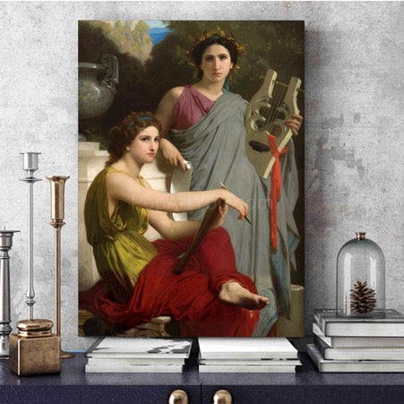 A portrait depicting two women in antique Greek clothes stands on a blue table on books