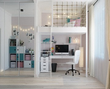 A bright room with a wardrobe with mirror, a workspace, a sleeping place on the second floor and a window.