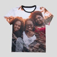 T-shirt with a photo of three girls printed on it