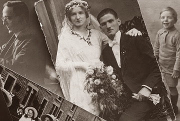Black and white old wedding photo of man and woman