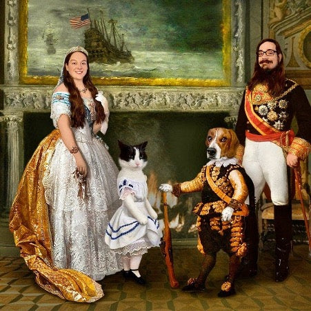 Portrait of a man, woman, dog and cat dressed in aristocratic costumes