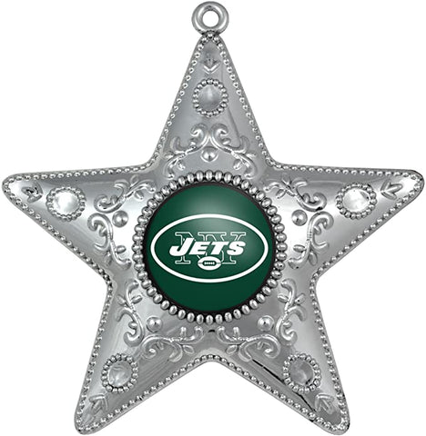 NEW YORK JETS NFL Silver Star Christmas Ornament