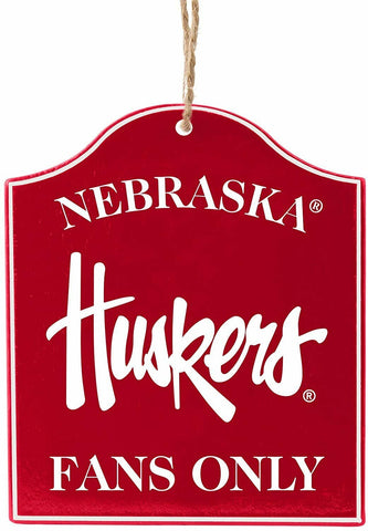 "NEBRASKA CORNHUSKERS NCAA Wooden ""Fans Only"" Sign Christmas Ornament"
