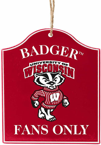 "WISCONSIN BADGERS NCAA Wooden ""Fans Only"" Sign Christmas Ornament"