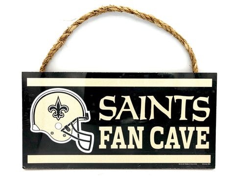 "NEW ORLEANS SAINTS NFL ""Fans Cave"" Wood Sign with Rope, 5""x10"""