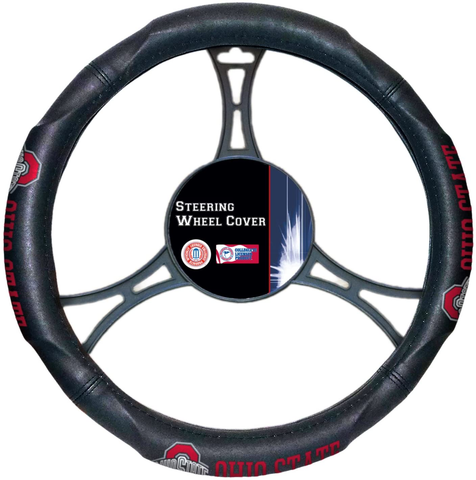 OHIO STATE BUCKEYES NCAA Premium Synthetic Leather Steering Wheel Cover