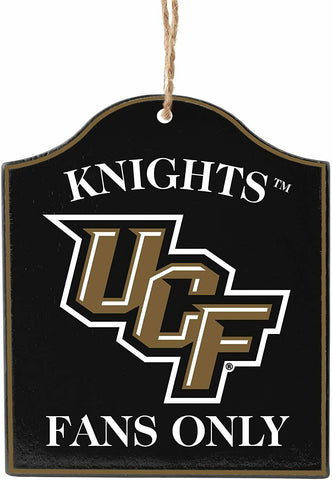 "UCF CENTRAL FLORIDA KNIGHTS NCAA Wooden ""Fans Only"" Sign Christmas Ornament"