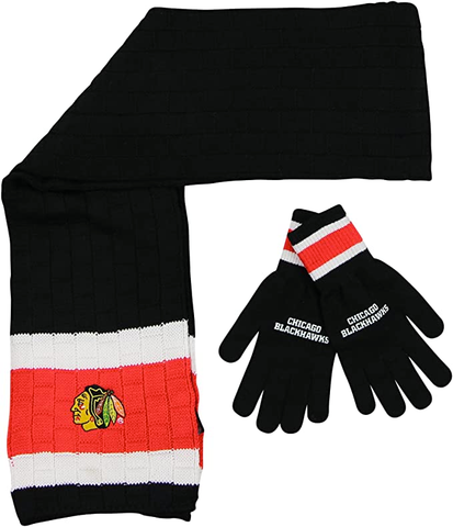 CHICAGO BLACKHAWKS Knit Scarf & Gloves Set