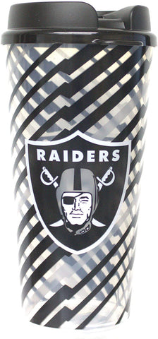 LAS VEGAS (OAKLAND) RAIDERS NFL Single Wall Striped Plastic Travel Tumbler, 32oz