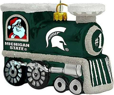 MICHIGAN STATE SPARTANS NCAA Blown Glass Train Christmas Tree Ornament