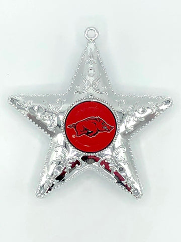 ARKANSAS RAZORBACKS NCAA Silver Star Christmas Ornament