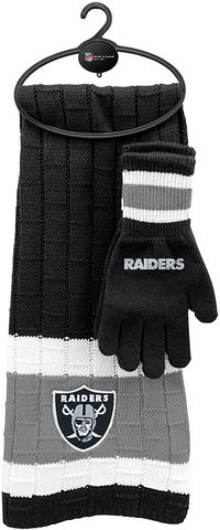 LAS VEGAS (OAKLAND) RAIDERS NFL Knit Scarf & Gloves Set